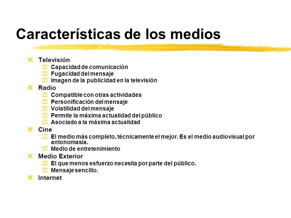 Características de los medios