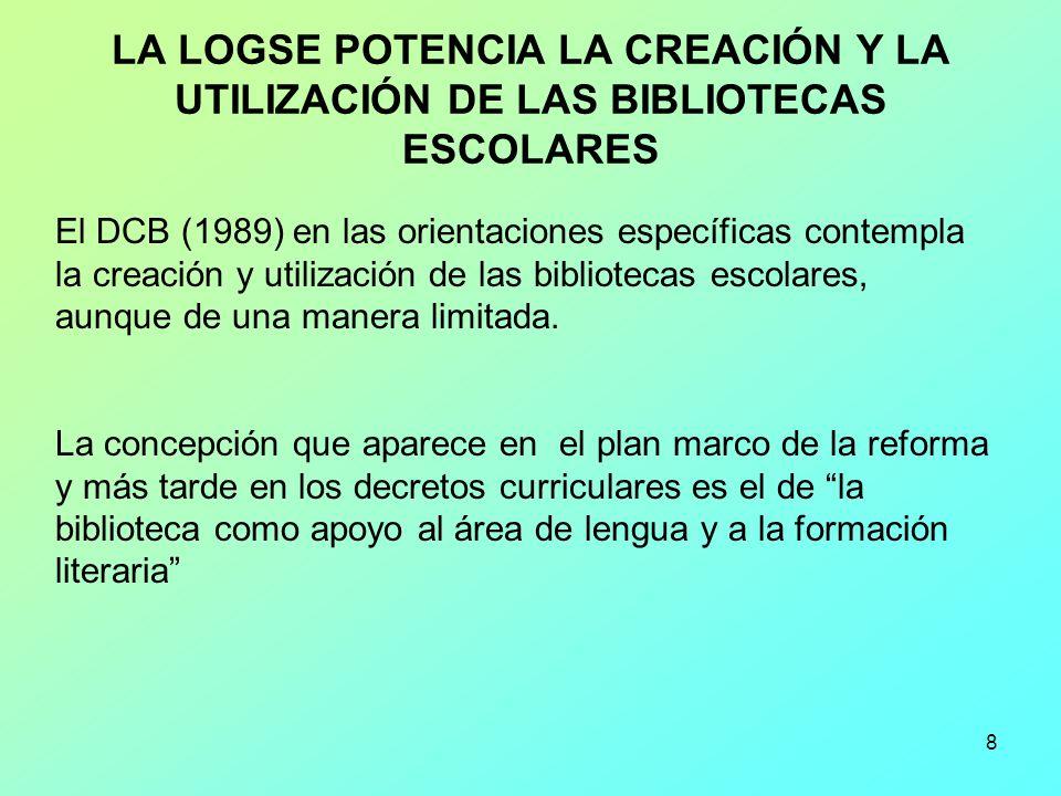 LA LOGSE POTENCIA LA CREACIÓN Y LA UTILIZACIÓN DE LAS BIBLIOTECAS ESCOLARES