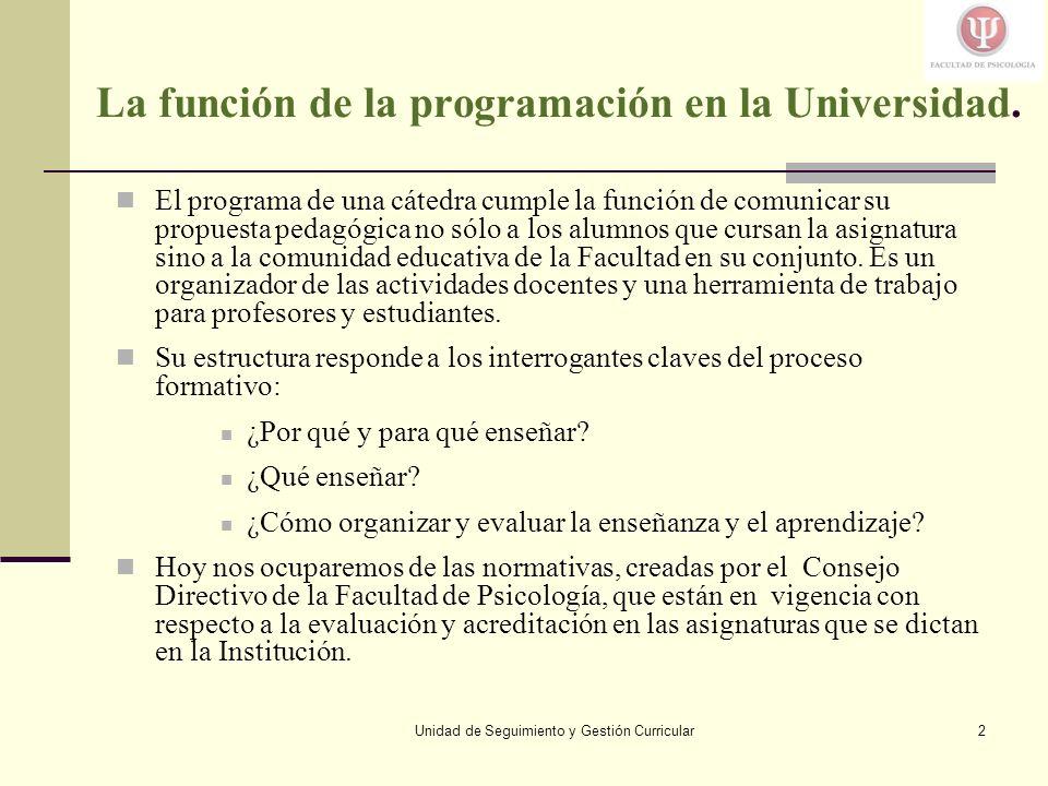 La función de la programación en la Universidad.