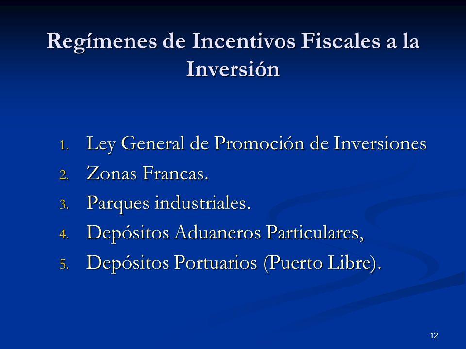 Regímenes de Incentivos Fiscales a la Inversión