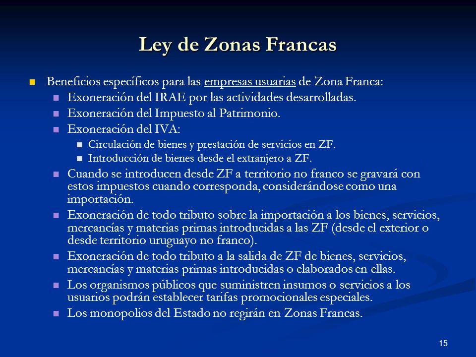 Ley de Zonas Francas Beneficios específicos para las empresas usuarias de Zona Franca: Exoneración del IRAE por las actividades desarrolladas.