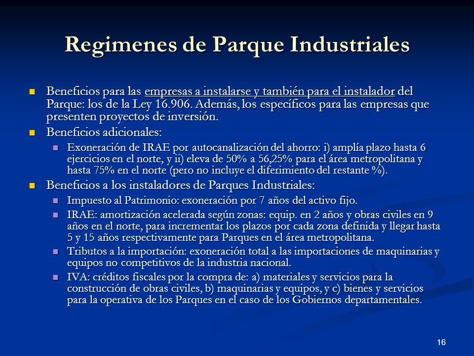 Regimenes de Parque Industriales