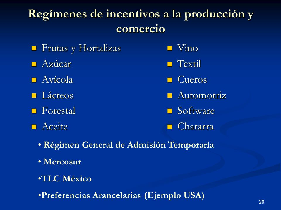 Regímenes de incentivos a la producción y comercio