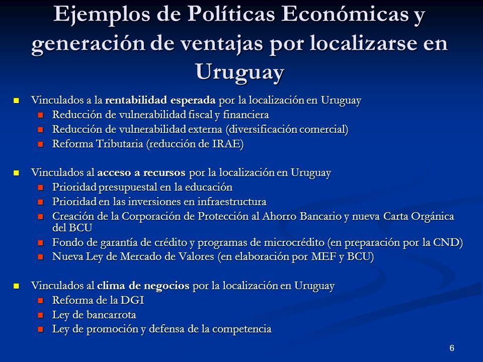 Ejemplos de Políticas Económicas y generación de ventajas por localizarse en Uruguay