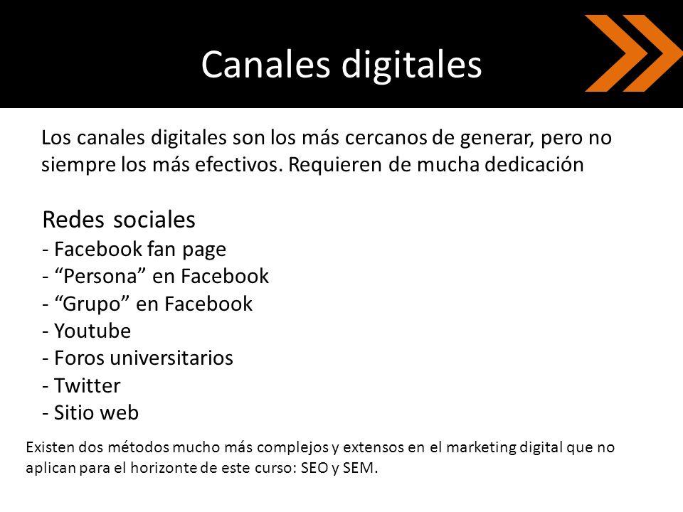 Canales digitales Redes sociales