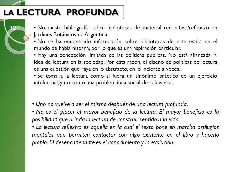 LA LECTURA PROFUNDA 12. No existe bibliografía sobre bibliotecas de material recreativo/reflexivo en Jardines Botánicos de Argentina.
