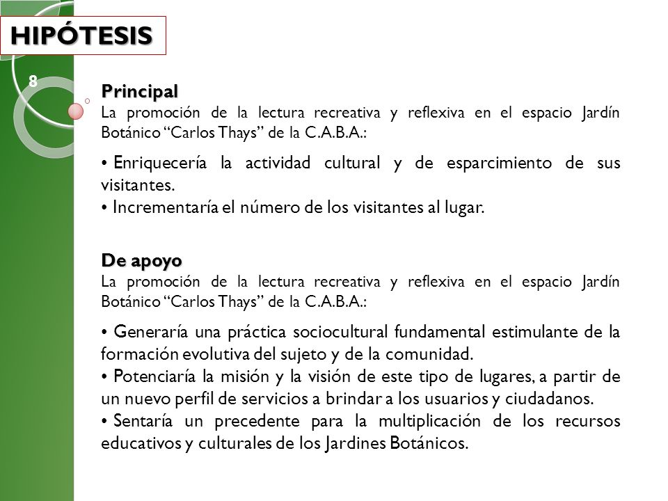 HIPÓTESIS 8. Principal. La promoción de la lectura recreativa y reflexiva en el espacio Jardín Botánico Carlos Thays de la C.A.B.A.: