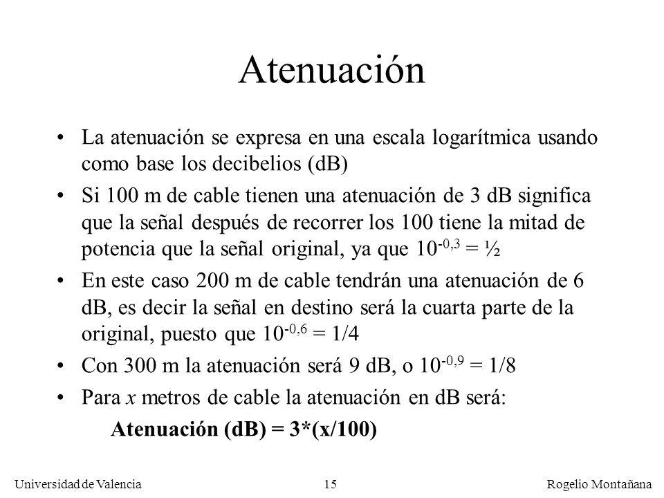 La Capa Física Atenuación. La atenuación se expresa en una escala logarítmica usando como base los decibelios (dB)