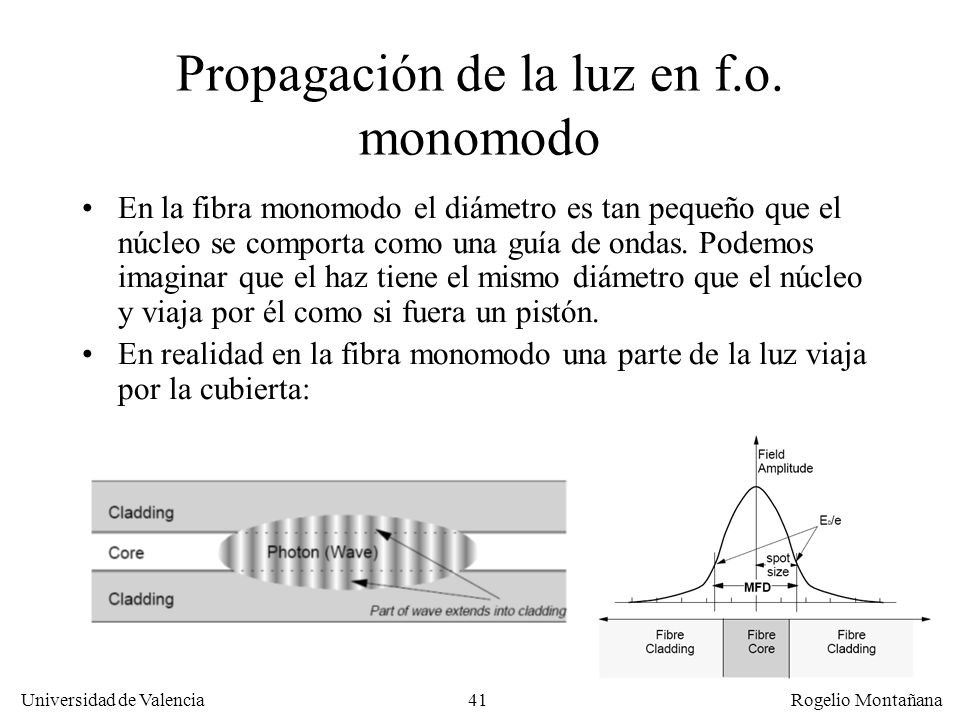 Propagación de la luz en f.o. monomodo