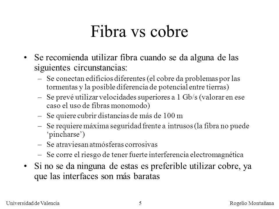 La Capa Física Fibra vs cobre. Se recomienda utilizar fibra cuando se da alguna de las siguientes circunstancias: