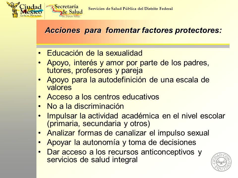Acciones para fomentar factores protectores: