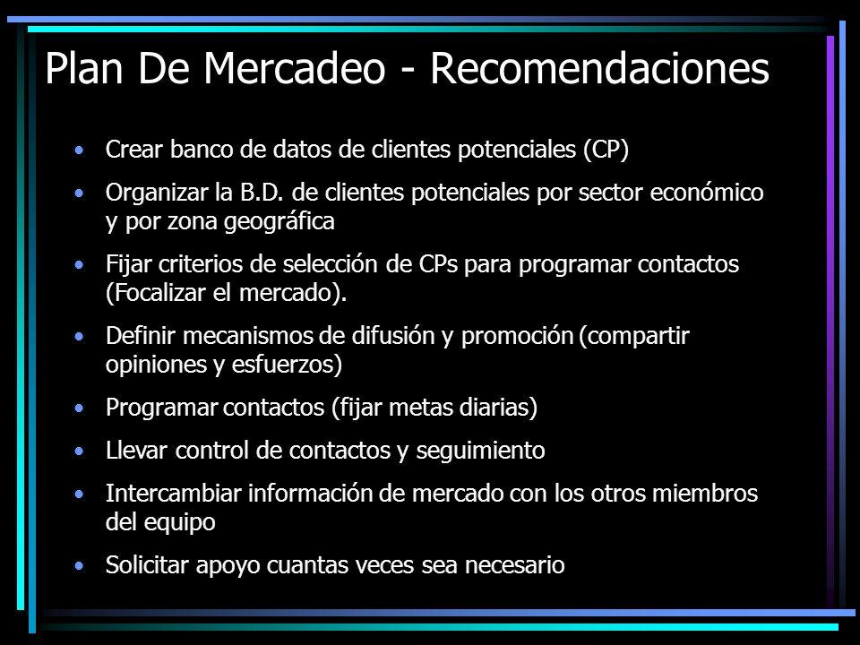 Plan De Mercadeo - Recomendaciones
