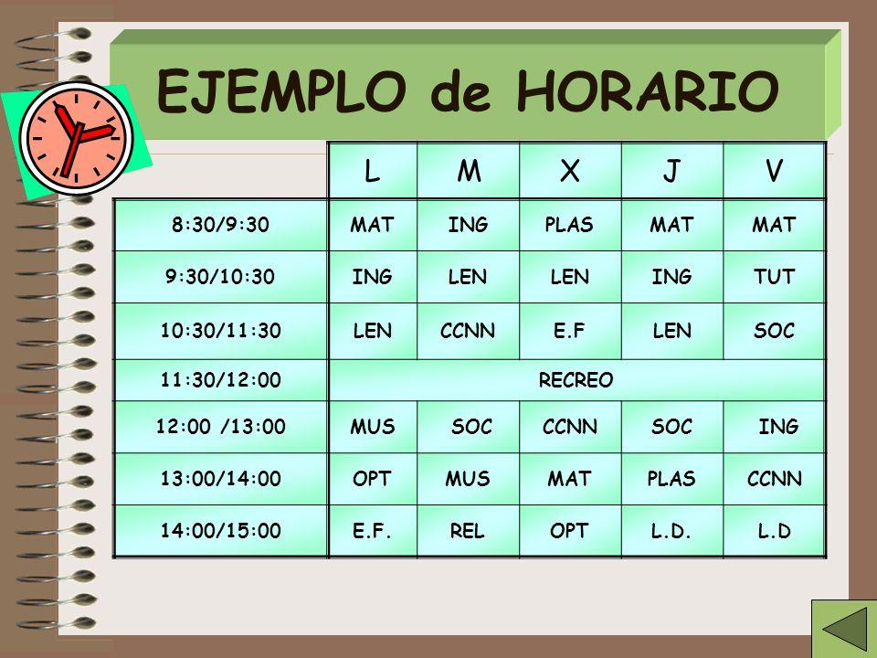 EJEMPLO de HORARIO L M X J V 8:30/9:30 MAT ING PLAS 9:30/10:30 LEN TUT