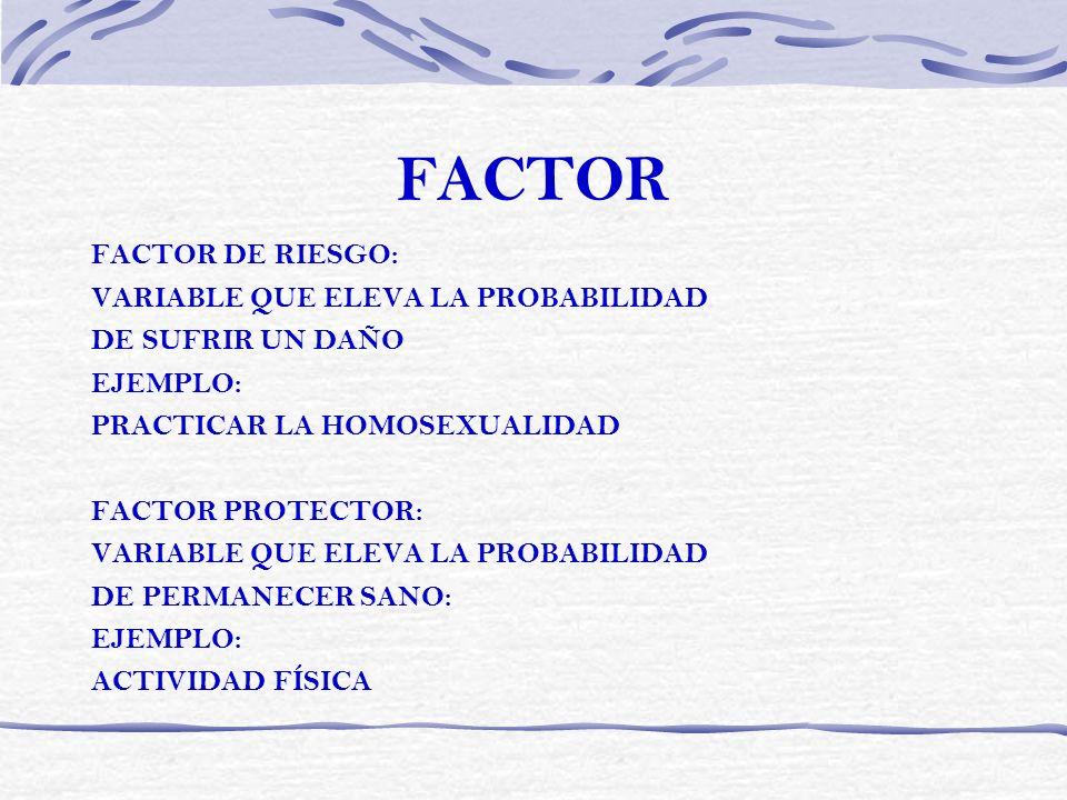 FACTOR FACTOR DE RIESGO: VARIABLE QUE ELEVA LA PROBABILIDAD