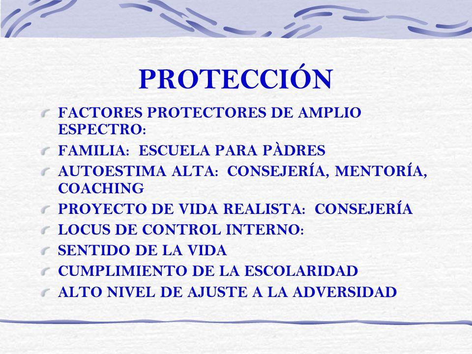 PROTECCIÓN FACTORES PROTECTORES DE AMPLIO ESPECTRO:
