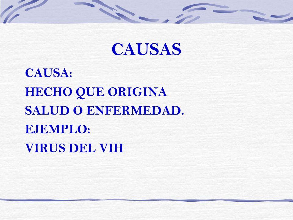 CAUSAS CAUSA: HECHO QUE ORIGINA SALUD O ENFERMEDAD. EJEMPLO: