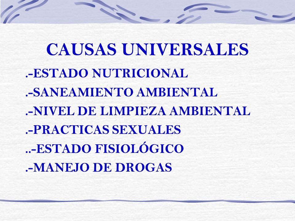 CAUSAS UNIVERSALES .-ESTADO NUTRICIONAL .-SANEAMIENTO AMBIENTAL