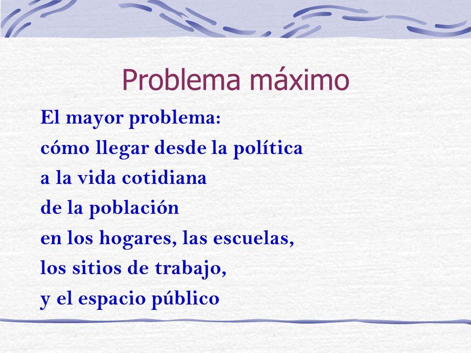 Problema máximo El mayor problema: cómo llegar desde la política
