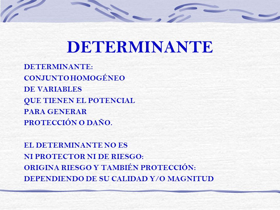 DETERMINANTE DETERMINANTE: CONJUNTO HOMOGÉNEO DE VARIABLES