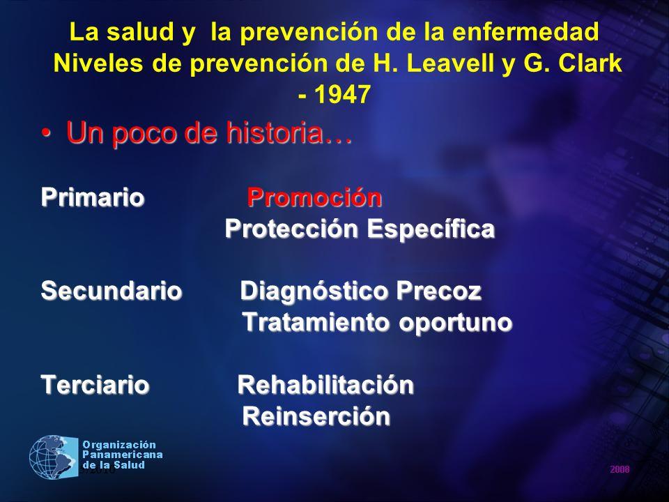 La salud y la prevención de la enfermedad Niveles de prevención de H