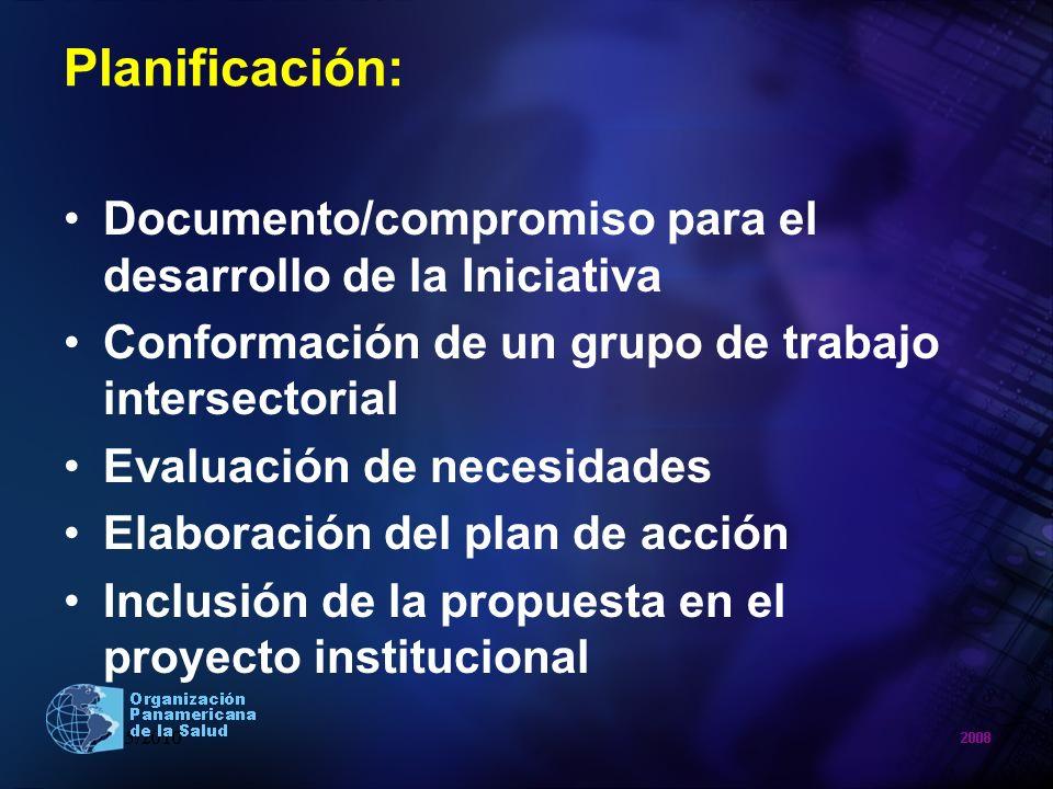 Planificación: Documento/compromiso para el desarrollo de la Iniciativa. Conformación de un grupo de trabajo intersectorial.