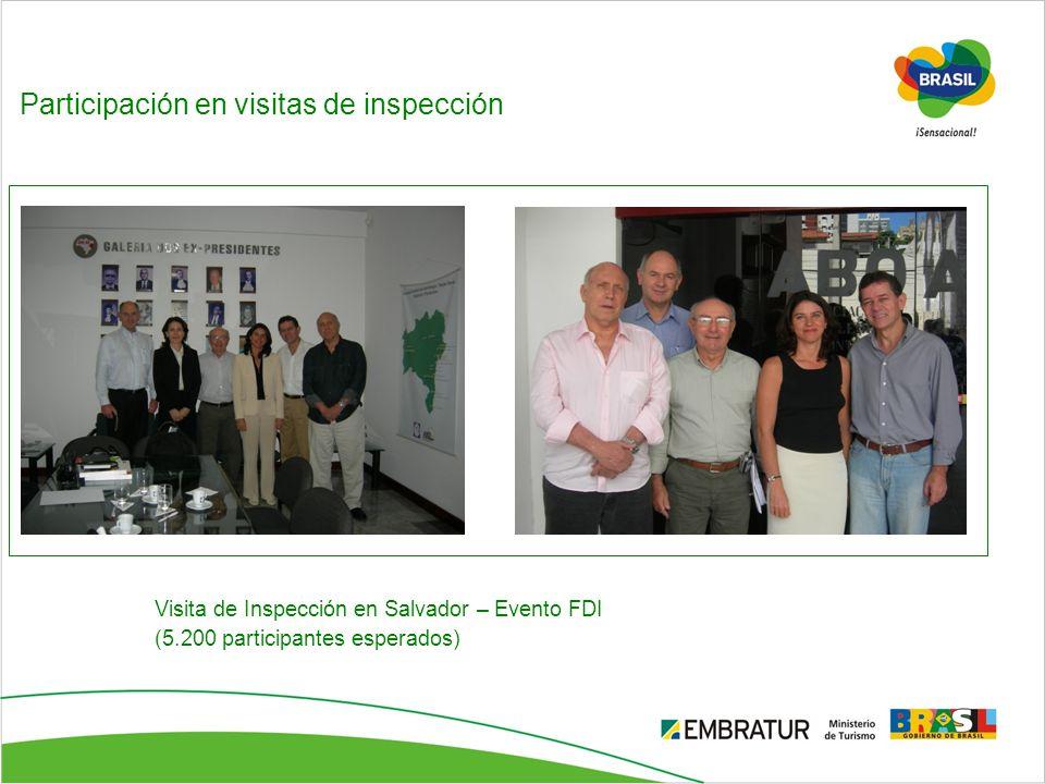 Participación en visitas de inspección