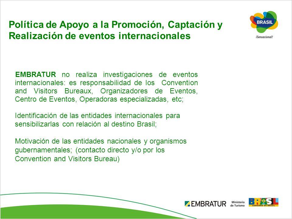 Política de Apoyo a la Promoción, Captación y Realización de eventos internacionales