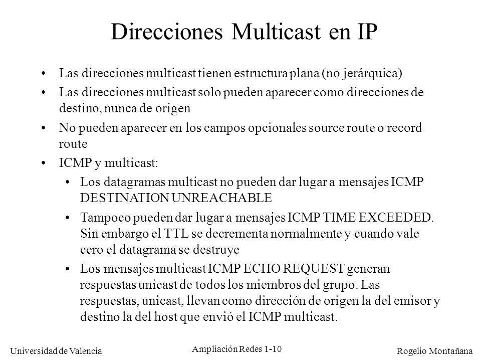 Direcciones Multicast en IP