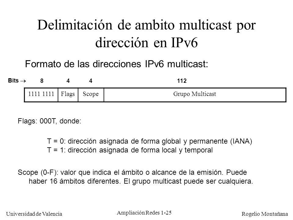 Delimitación de ambito multicast por dirección en IPv6