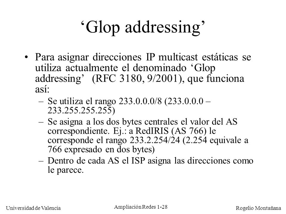 Multicast 'Glop addressing'