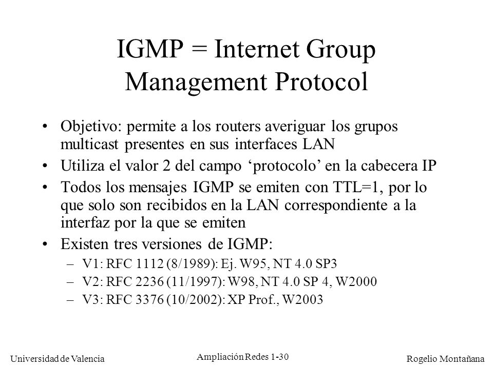 IGMP = Internet Group Management Protocol