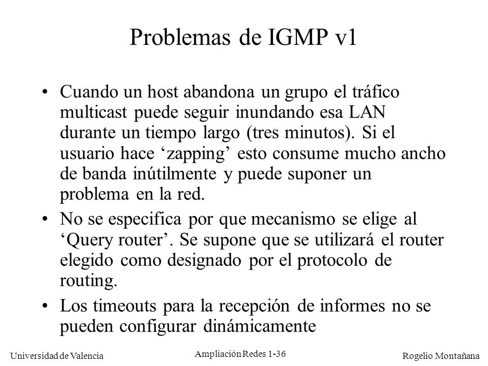 Multicast Problemas de IGMP v1.
