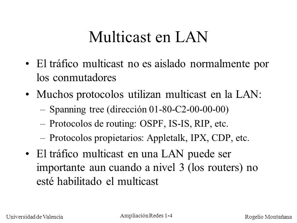 Multicast Multicast en LAN. El tráfico multicast no es aislado normalmente por los conmutadores. Muchos protocolos utilizan multicast en la LAN: