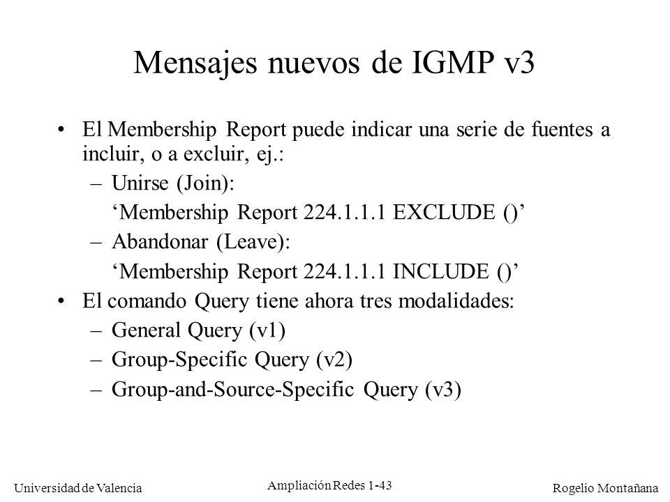 Mensajes nuevos de IGMP v3