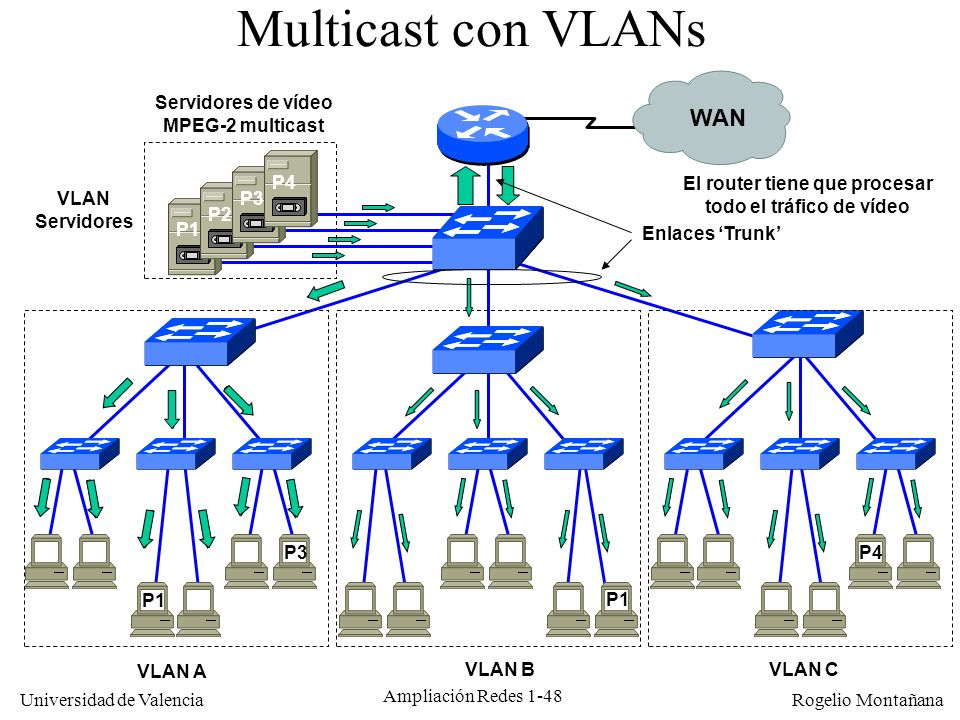 Multicast con VLANs WAN Servidores de vídeo MPEG-2 multicast P4
