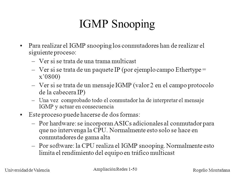 Multicast IGMP Snooping. Para realizar el IGMP snooping los conmutadores han de realizar el siguiente proceso: