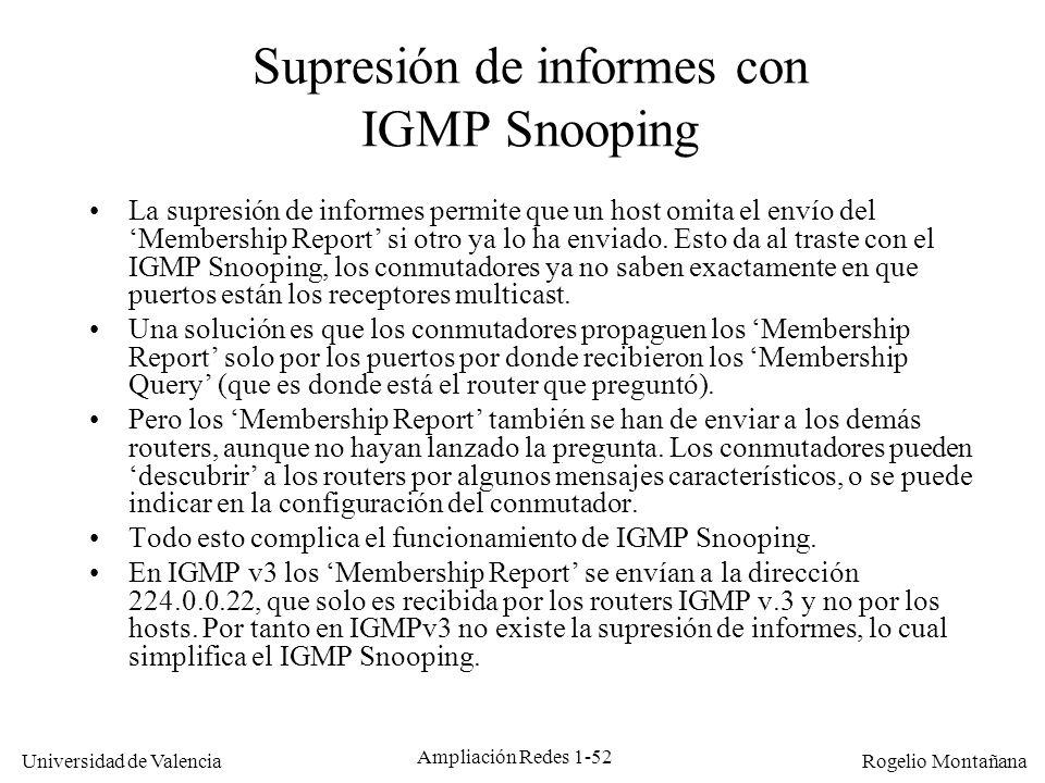 Supresión de informes con IGMP Snooping