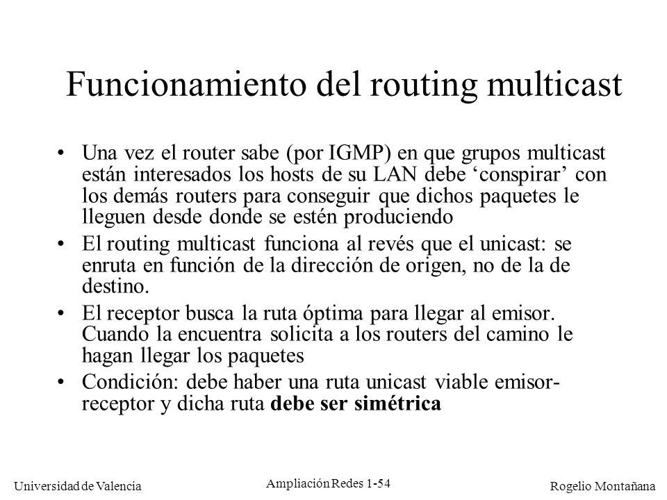 Funcionamiento del routing multicast