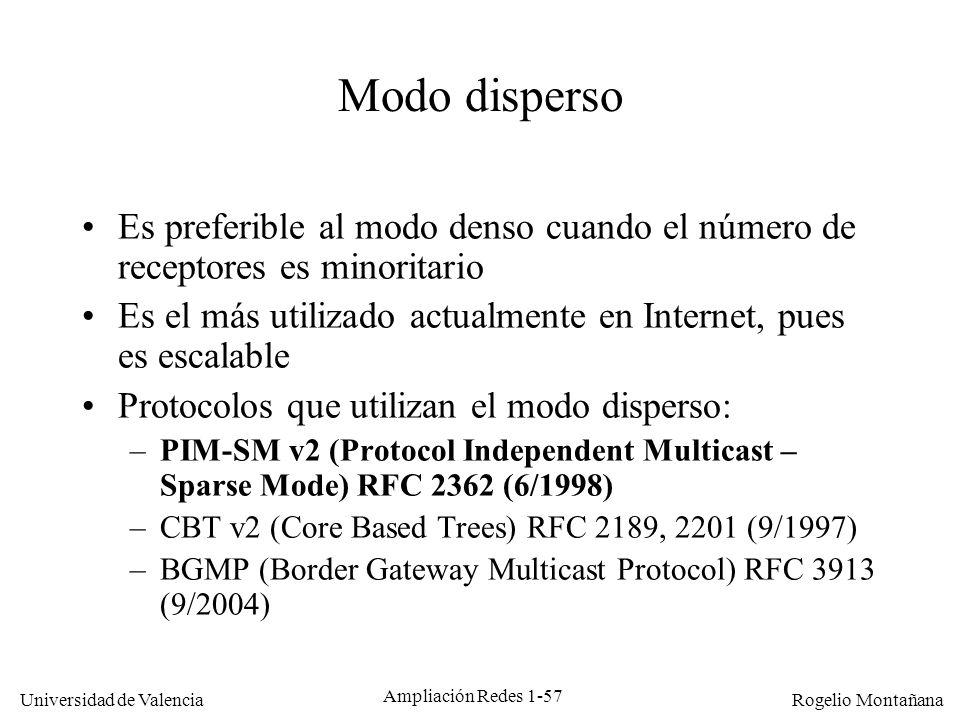 Multicast Modo disperso. Es preferible al modo denso cuando el número de receptores es minoritario.