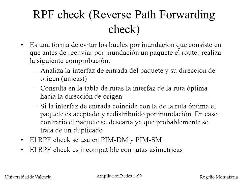 RPF check (Reverse Path Forwarding check)