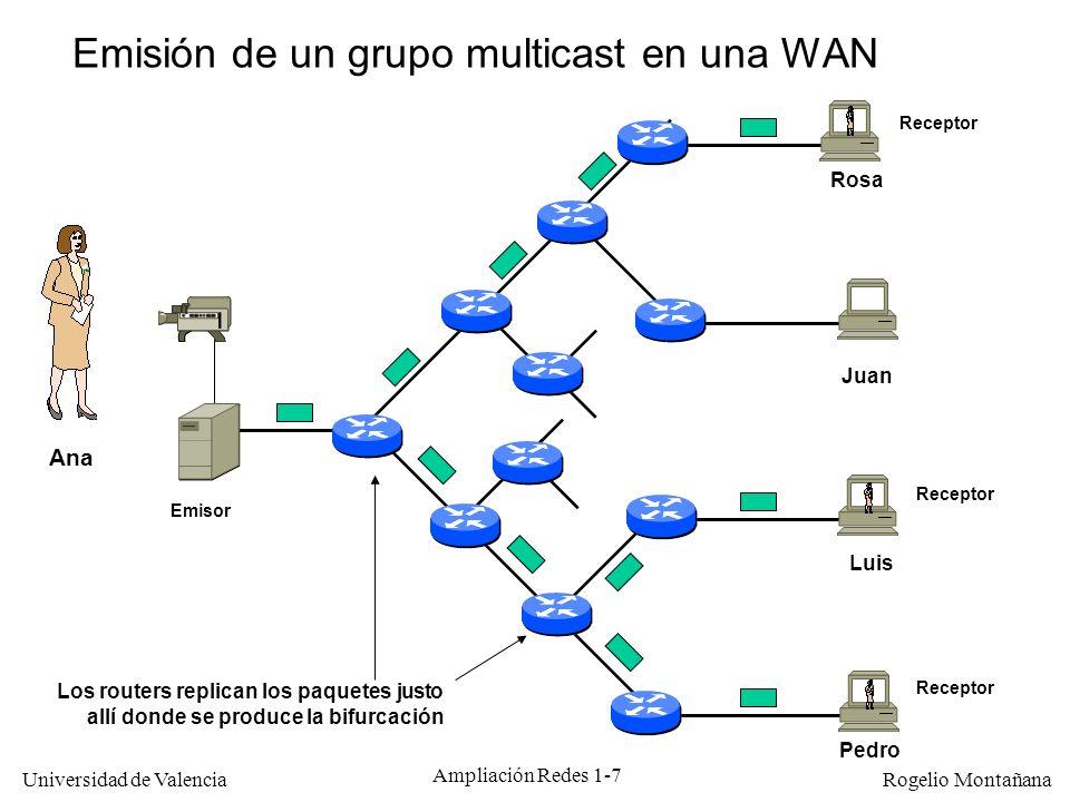Emisión de un grupo multicast en una WAN