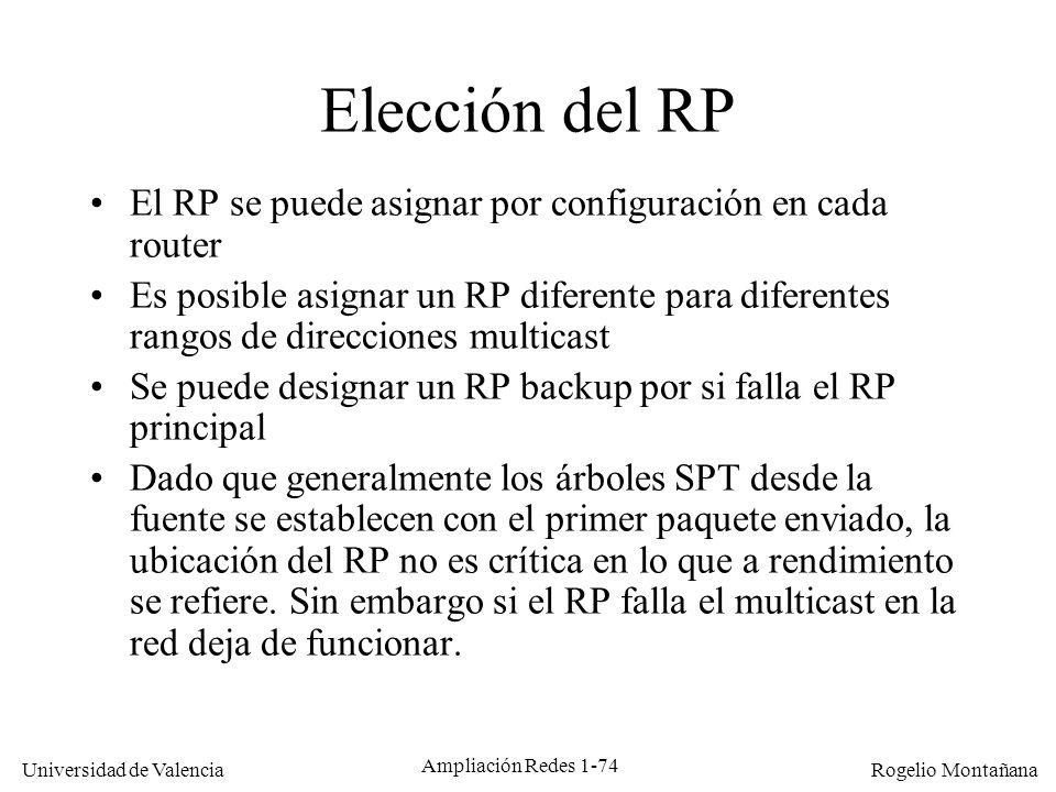 Multicast Elección del RP. El RP se puede asignar por configuración en cada router.