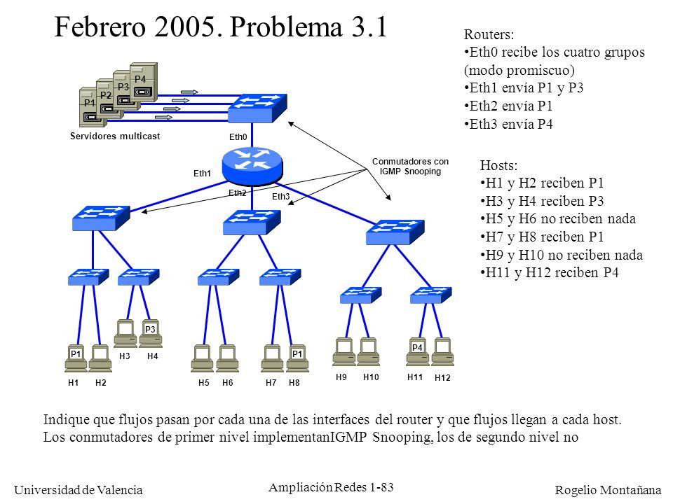 Febrero 2005. Problema 3.1 Routers: