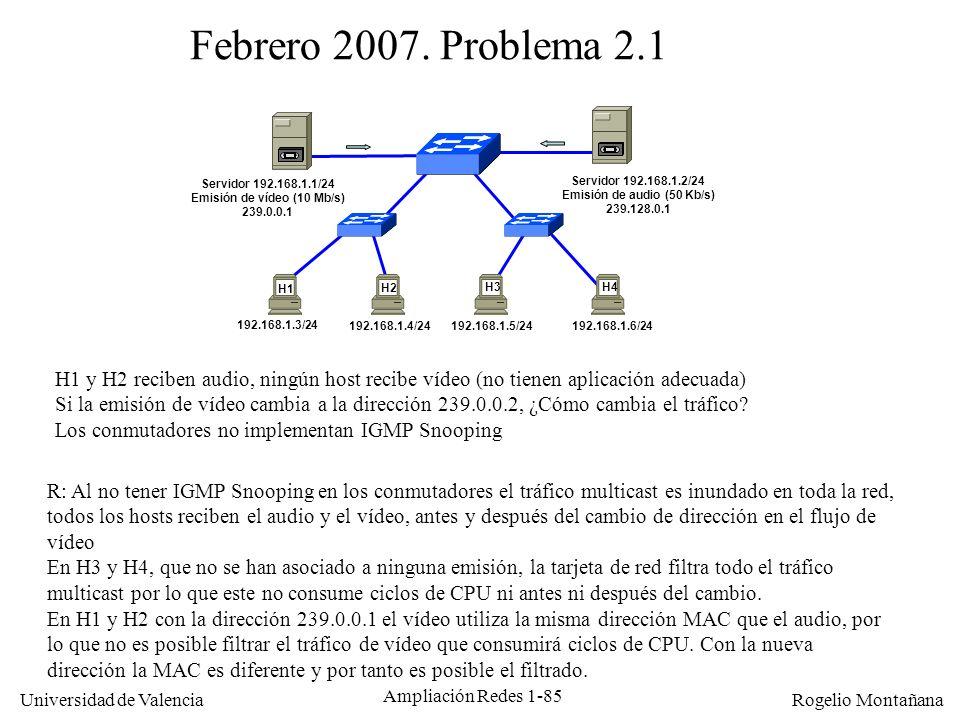 Multicast Febrero 2007. Problema 2.1. Servidor 192.168.1.1/24. Emisión de vídeo (10 Mb/s) 239.0.0.1.