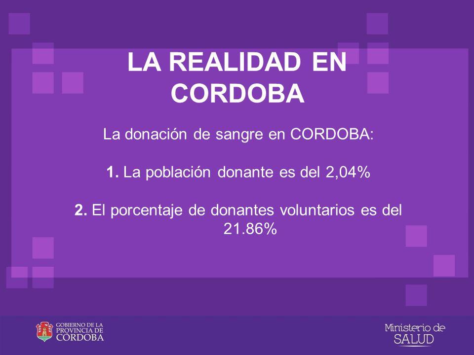 LA REALIDAD EN CORDOBA La donación de sangre en CORDOBA: