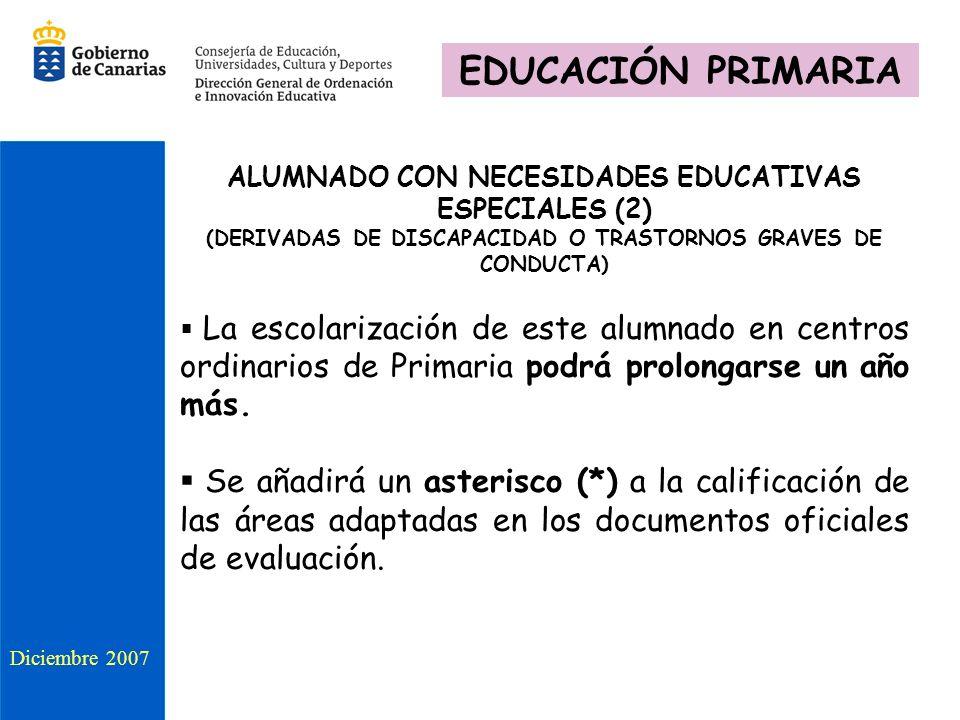 EDUCACIÓN PRIMARIA ALUMNADO CON NECESIDADES EDUCATIVAS ESPECIALES (2) (DERIVADAS DE DISCAPACIDAD O TRASTORNOS GRAVES DE CONDUCTA)