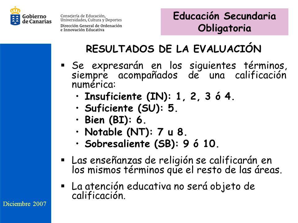 Educación Secundaria Obligatoria RESULTADOS DE LA EVALUACIÓN
