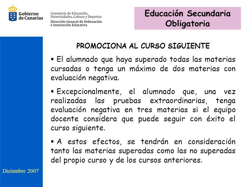 Educación Secundaria Obligatoria PROMOCIONA AL CURSO SIGUIENTE