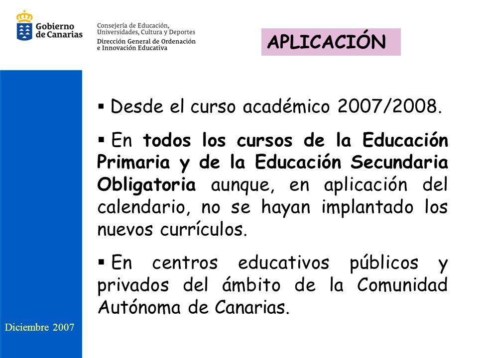 APLICACIÓN Desde el curso académico 2007/2008.