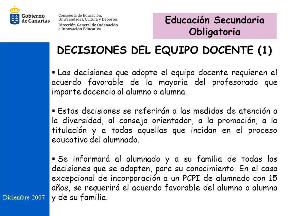 Educación Secundaria Obligatoria DECISIONES DEL EQUIPO DOCENTE (1)